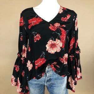 Leith Floral Balloon Sleeve Statement Blouse Small